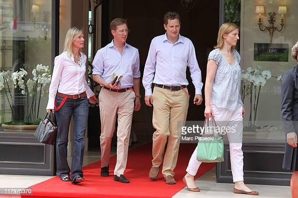 Stephanie Anne Kaul and her husband Bernhard hereditary Prince of Baden Prince Georg Friedrich of Prussia and his fiance Princess Sophie Johanna...
