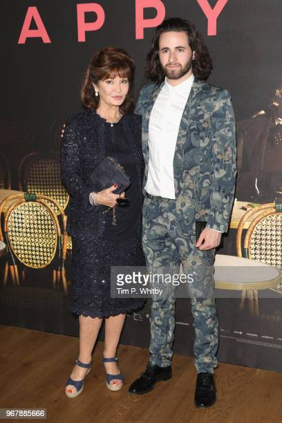 Stephanie Beacham and a guest attend the UK premiere of 'The Happy Prince' at Vue West End on June 5 2018 in London England