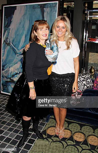 Stephanie Beacham and Alice Stone attend an exclusive preview of the 'Thomas Campbell Paints Lily and Lionel' collection of wearable art in...