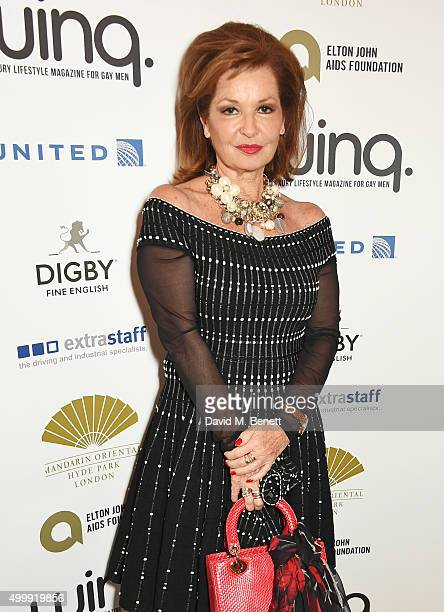 Stephanie Beacham attends the Winq Magazine Men of the Year lunch to benefit the Elton John Aids Foundation at The Mandarin Oriental Hyde Park on...