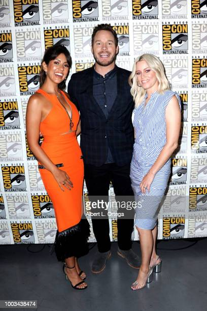 Stephanie Beatriz Chris Pratt and Elizabeth Banks attend the Warner Bros 'The Lego Movie 2 The Second Part' theatrical panel during ComicCon...