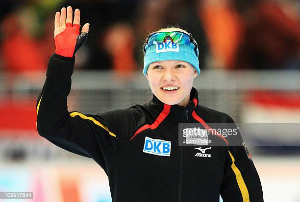 Stephanie Beckert of Germany celebrates after the 3000m heats during Day 1 of the Essent ISU Speed Skating World Cup at the Max Aicher Arena on March...