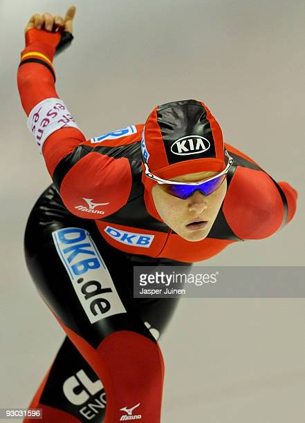 Stephanie Beckert of Germany competes in the 3000m race on her way to clocking the fastest time during the Essent ISU speed skating World Cup at the...