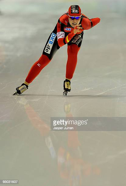 Stephanie Beckert of Germany on her way to clocking the fastest time in the 3000m race during the Essent ISU speed skating World Cup at the Thialf...