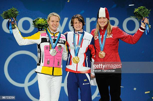 Stephanie Beckert of Germany wins the silver medal Martina Sablikova of Czech Republic wins the gold medal and Kristina Groves of Canada wins the...