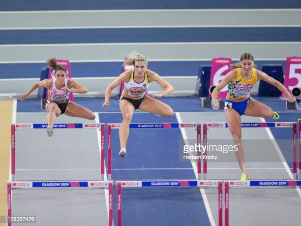 Stephanie Bendrat of Austria Cindy Roleder of Germany and Hanna Plotitsyna of the Ukraine compete in the qualification races of the women's 60m...