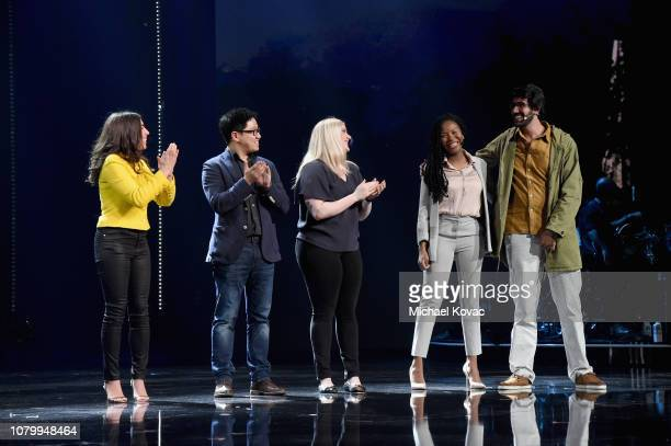 Stephanie Benedetto Jiliang Ma Chloe Alpert Rachael Corson and Tomas Abrahao celebrate onstage during the WeWork Presents Second Annual Creator...