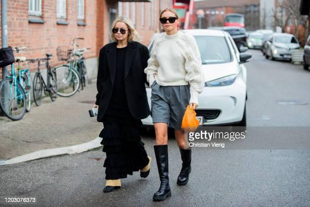 Stephanie Broek black dress and blazer and Claire Rose Cliteur wearing grey shorts, knit, orange Bottega bag, black boots seen outside By Malene...