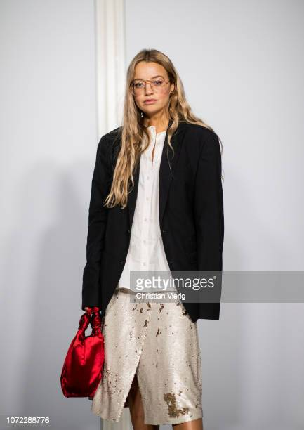 Stephanie Broek is seen at Samsoe Samsoe autumn show on December 12 2018 in Copenhagen Denmark