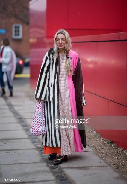Stephanie Broek is seen wearing two tone coat outside Baum und Pferdgarten during the Copenhagen Fashion Week Autumn/Winter 2019 Day 3 on January 31...
