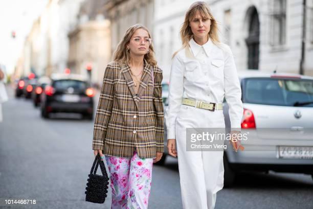 Stephanie Broek wearing checked oversized blazer jacket pink pants Linda Tol wearing white pants button shirt seen outside Baum und Pferdgarten...