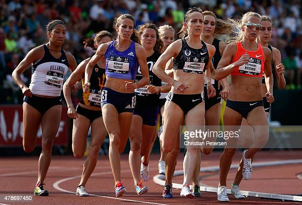 Stephanie Brown Shannon Rowbury and Morgan Uceny lead the pack as they compete in the Women's 1500 Meter Run during day two of the 2015 USA Outdoor...