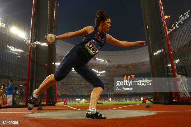 Stephanie Brown Trafton of the United States competes in the Women's Discus Final at the National Stadium on Day 10 of the Beijing 2008 Olympic Games...