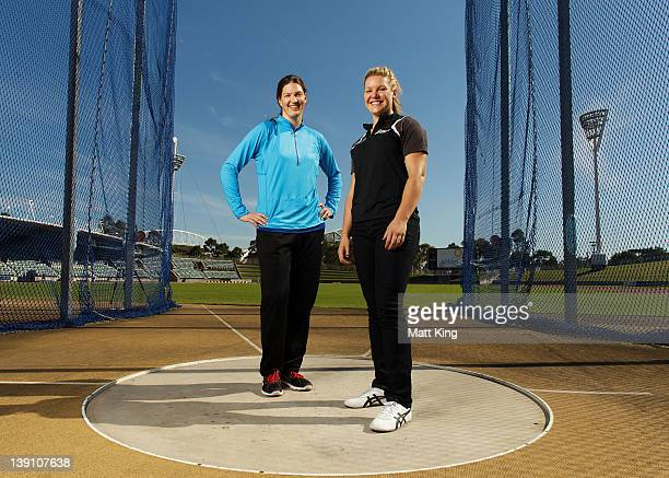Stephanie BrownTrafton of USA and Dani Samuels of Australia pose during an Athletics Australia press conference ahead of the Sydney Track Classic at...