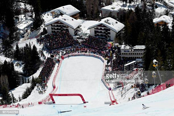 Stephanie Brunner of Austria competes during the Audi FIS Alpine Ski World Cup Women's Combined on March 4 2018 in CransMontana Switzerland