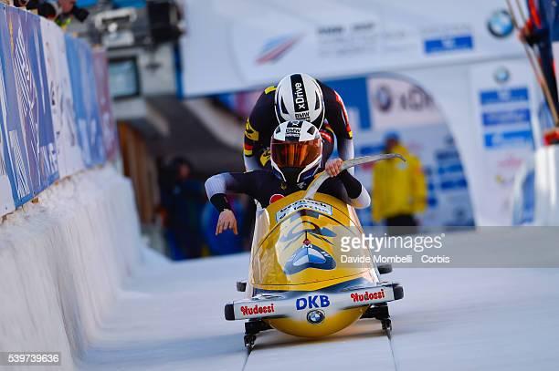 Stephanie Buckwitz Lisa Marie in action during the start BMW IBSF World Cup Bob 2 women 2015/2016 St Moritz Swiss