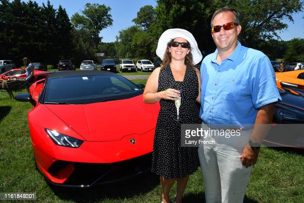 Stephanie Burget and Shawn Burgett are seen at Grandiosity Events CigarsGuitars Charity PoloJazz charity event Powered by Logical Technology and...