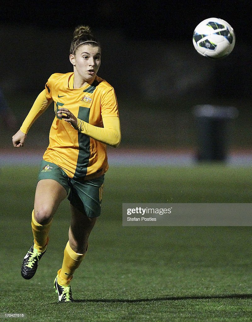 Stephanie Catley of Australia in action during game one of the Women's International Series between the Australian Matildas and the New Zealand Football Ferns at AIS on June 13, 2013 in Canberra, Australia.