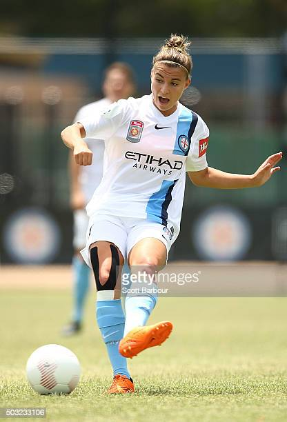 Stephanie Catley of City FC contols the ball during the round 12 WLeague match between Melbourne City FC and the Western Sydney Wanderers at CBSmith...