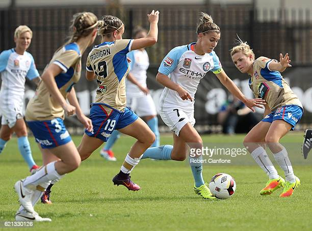 Stephanie Catley of Melbourne City runs with the ball during the round one WLeague match between Melbourne City and the Newcastle Jets at CB Smith...
