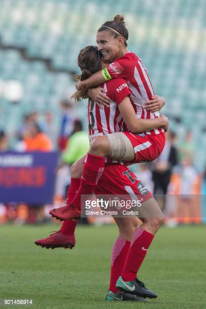 Stephanie Catley of the Melbourne City celebrates with teammate Rebekah Stott after winning the WLeague Grand Final match between the Sydney FC and...