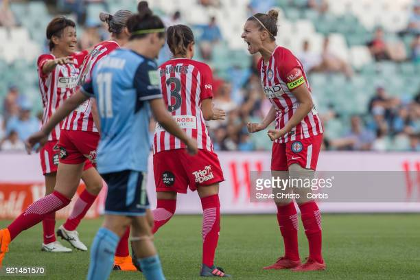 Stephanie Catley of the Melbourne City screams after the final whistle during the WLeague Grand Final match between the Sydney FC and the Melbourne...