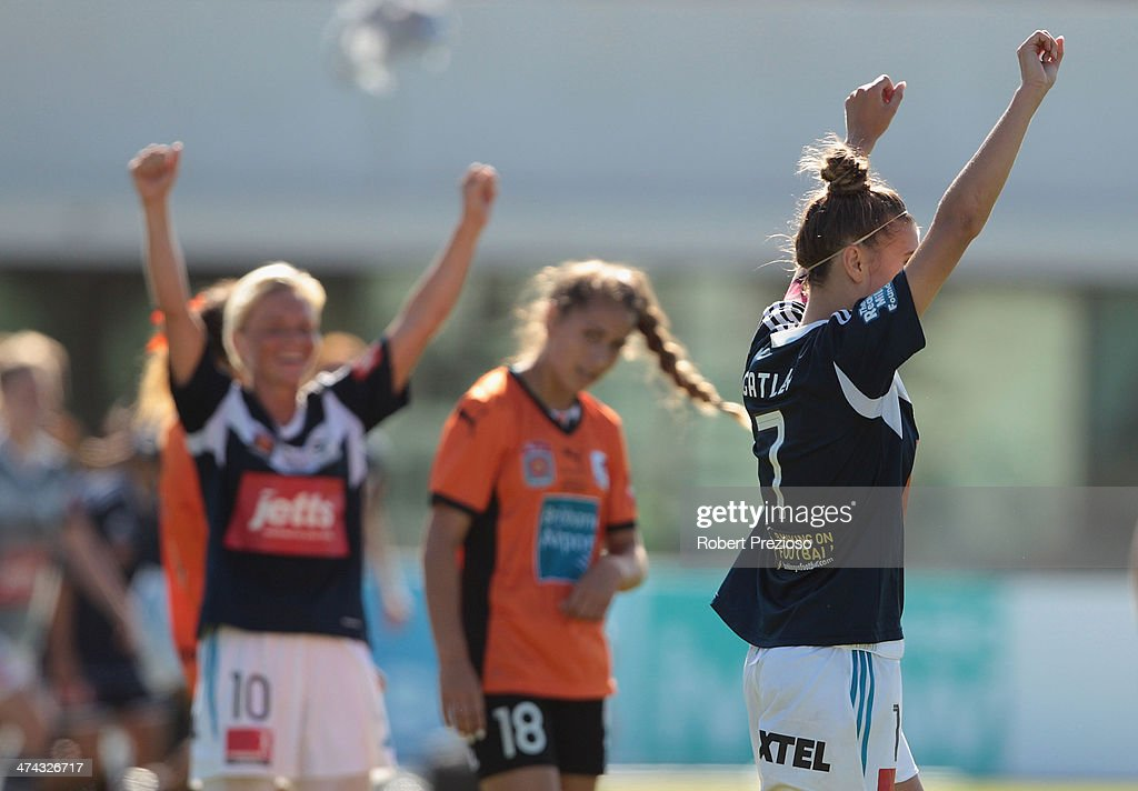 Stephanie Catley of Victory celebrates after winning the W-League Grand Final match between the Melbourne Victory and the Brisbane Roar at Lakeside Stadium on February 23, 2014 in Melbourne, Australia.