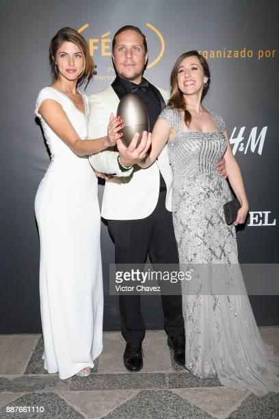 Stephanie Cayo Gary Alazraki and Mariana Trevino attend the the Premio Iberoamericano De Cine Fenix 2017 press room at Teatro de La Ciudad on...