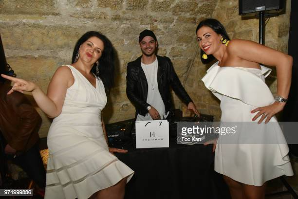 Stephanie Coccellato from Archiman and her guest and DJ Noyz attend the Archiman Men Body Care Launch Party at 22 Rue de L'Universite on June 14 2018...