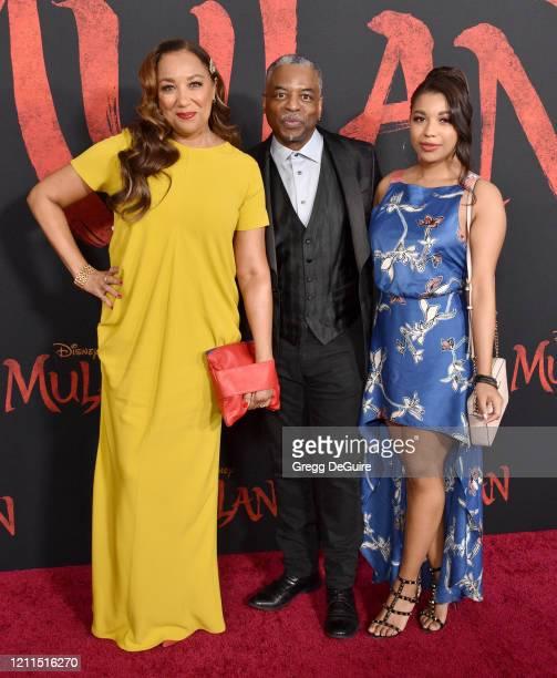 Stephanie Cozart Burton LeVar Burton and Michaela Jean Burton attend the Premiere Of Disney's Mulan on March 09 2020 in Hollywood California