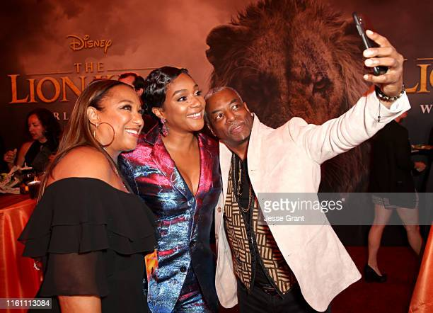 """Stephanie Cozart Burton, Tiffany Haddish and LeVar Burton attend the World Premiere of Disney's """"THE LION KING"""" at the Dolby Theatre on July 09, 2019..."""