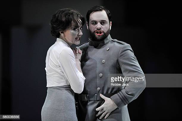 Stephanie d' Oustrac as Beatrice and Paul Appleby as Benedict in Glyndebourne's production of Hector Berlioz's Beatrice et Benedict directed by...