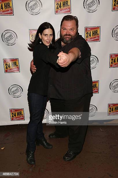Stephanie d'Abruzzo and Mike Daisey attend 'The 24 Hour Musicals' Benefiting The Orchard Project at the Gramercy Theatre on April 13 2015 in New York...