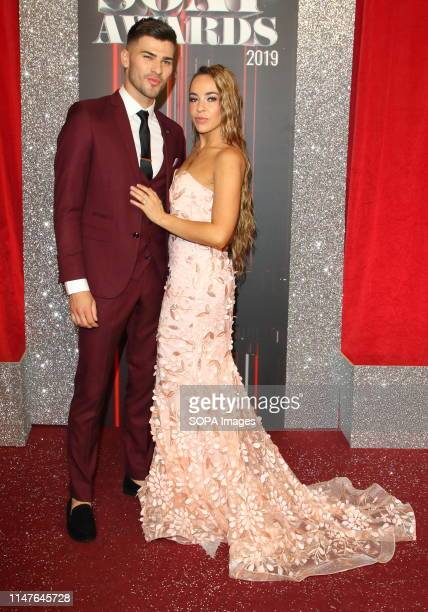 Stephanie Davis and Owen Warner arrive on the red carpet during The British Soap Awards 2019 at The Lowry Media City Salford in Manchester