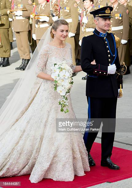 Stephanie de Lannoy with Count Jehan de Lannoy arrives for her wedding ceremony to Prince Guillaume Of Luxembourg at the Cathedral of our Lady of...