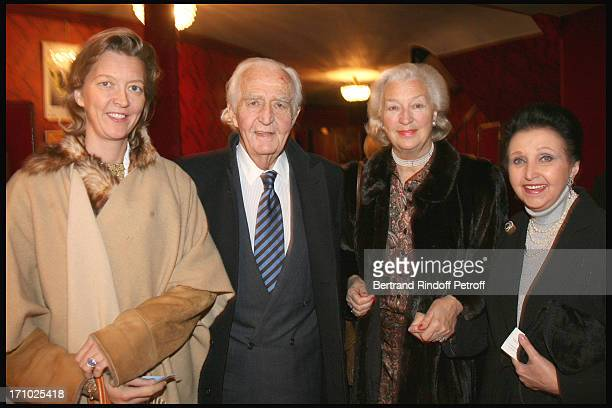 Stephanie De Tocqueville with parents Comte and Comtesse De Lalaing, Duchesse Sophie De Wurttemberg at The Paris Production Of The Show Une Comedie...