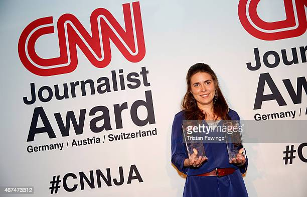 Stephanie Doetzer winner of the Radio and Journalist of the Year awards on stage at the CNN Journalist Award 2015 at the Century Club on March 24...