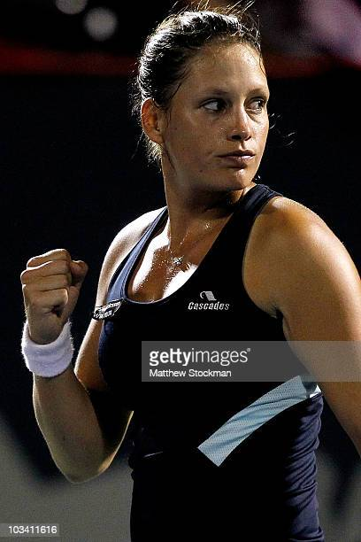 Stephanie Dubois of Canada celebrates winning the first set against Klara Zakopalova of the Czech Republic during the Rogers Cup at Stade Uniprix on...