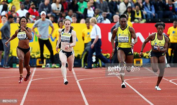 Stephanie Durst of USA Emily Freeman of Great Britain Laverne Jones of US Virgin Islands and Bianca Knight of USA compete in the Women's 200m Final...