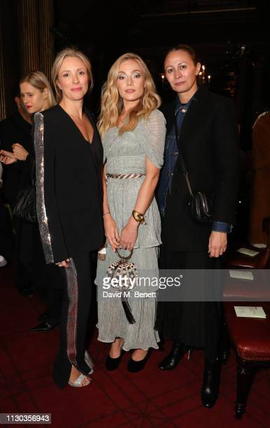 Stephanie Fair Clara Paget and Caroline Rush attend the Peter Pilotto Autumn Winter 2019 Show on February 17 2019 in London England