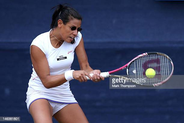 Stephanie Foretz Gacon of France hits a return during her match against Misaki Doi of Japan during day five of the AEGON Classic at Edgbaston Priory...