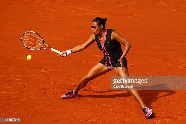Stephanie Foretz Gacon of France plays a forehand in her women's singles second round match against Na Li of China during day 5 of the French Open at...