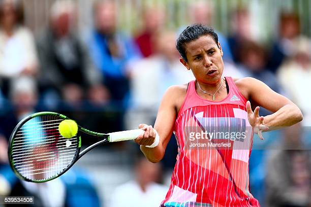 Stephanie Foretz of France plays a forehand during her Women's Final match against Marina Melnikova of Germany during day nine of the Aegon Surbiton...