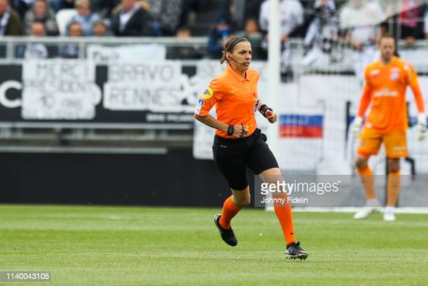 Stephanie Frappart referee during the French Ligue 1 match between SC Amiens and RC Strasbourg Alsace on April 28 2019 in Amiens France