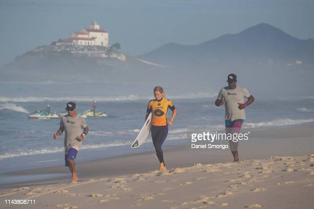 Stephanie Gilmore from Australia advanced to the Quarterfinals after placing second in Heat 2 of Round 3 at the Oi Rio Pro in Saquarema, Rio de...