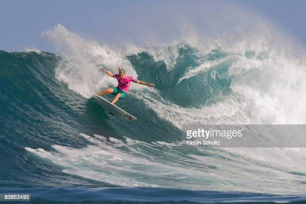 Stephanie Gilmore in action during the O'Neill World Cup held at Sunset Beach November 28 2008 in Oahu Hawaii
