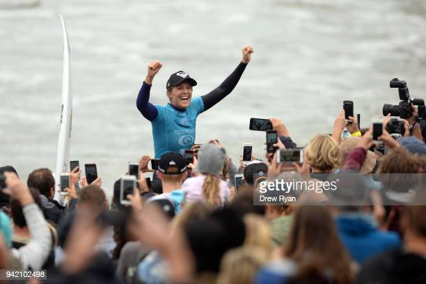 Stephanie Gilmore of Australia celebrates after winning the Rip Curl Pro Bells Beach at Bells Beach on April 5 2018 in Melbourne Australia