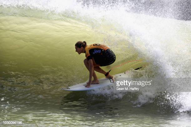 Stephanie Gilmore of Australia competes during the women's final round of the World Surf League Surf Ranch Pro on September 9 2018 in Lemoore...