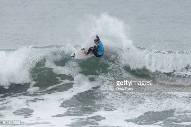 Stephanie Gilmore of Australia competes in the Rip Curl Pro Bells Beach at Bells Beach on April 5 2018 in Melbourne Australia