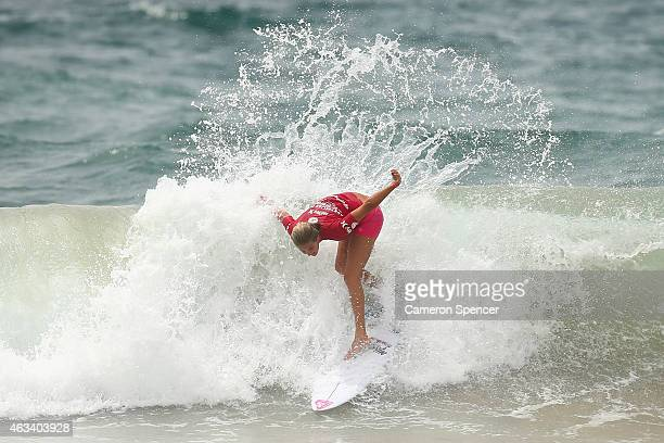 Stephanie Gilmore of Australia competes in the women's heats during the Australian Open of Surfing on February 14 2015 in Sydney Australia
